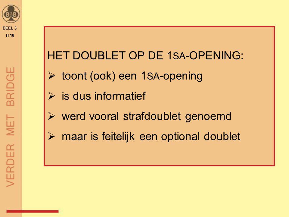 HET DOUBLET OP DE 1 SA -OPENING:  toont (ook) een 1 SA -opening  is dus informatief  werd vooral strafdoublet genoemd  maar is feitelijk een optio
