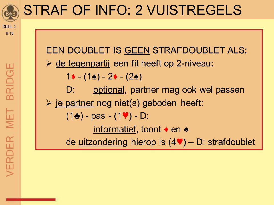 DEEL 3 H 18 STRAF OF INFO: 2 VUISTREGELS EEN DOUBLET IS GEEN STRAFDOUBLET ALS:  de tegenpartij een fit heeft op 2-niveau: 1♦ - (1♠) - 2♦ - (2♠) D:opt