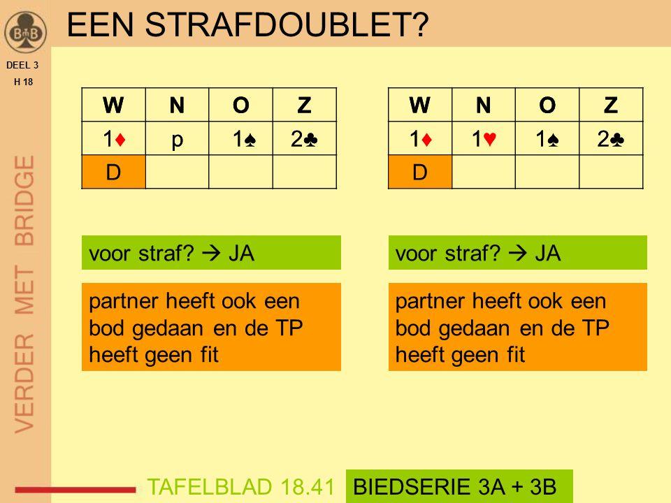 WNOZ 1♦1♦p 1♠2♣2♣ D EEN STRAFDOUBLET. DEEL 3 H 18 voor straf.