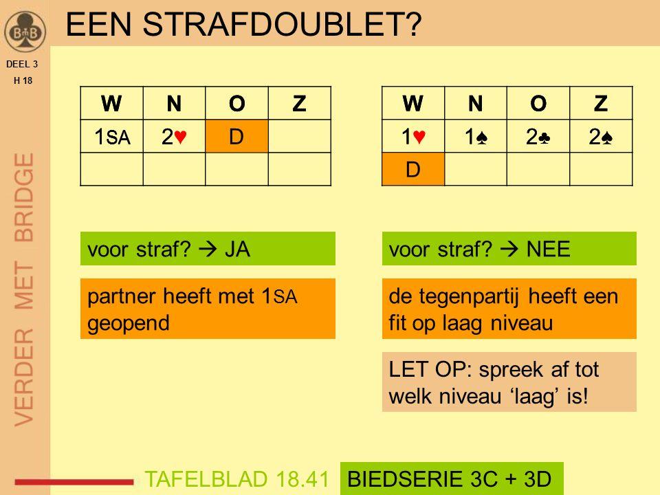 WNOZ 1 SA 2♥2♥D EEN STRAFDOUBLET. DEEL 3 H 18 voor straf.