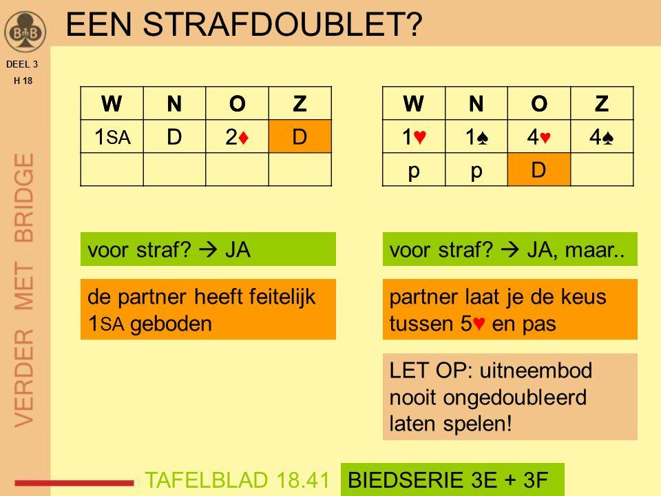 WNOZ D2♦2♦D EEN STRAFDOUBLET. DEEL 3 H 18 voor straf.