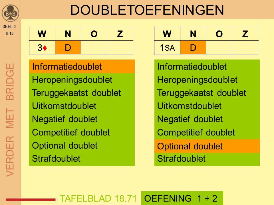 WNOZ 3♦3♦D DEEL 3 H 18 TAFELBLAD 18.71OEFENING 1 + 2 DOUBLETOEFENINGEN Informatiedoublet Heropeningsdoublet Teruggekaatst doublet Uitkomstdoublet Nega
