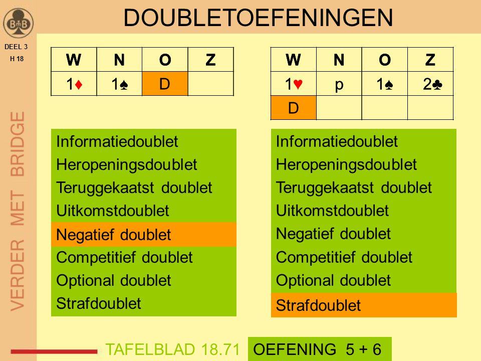WNOZ 1♦1♦1♠1♠D DEEL 3 H 18 TAFELBLAD 18.71 DOUBLETOEFENINGEN OEFENING 5 + 6 WNOZ 1♦1♦1♠1♠D Informatiedoublet Heropeningsdoublet Teruggekaatst doublet