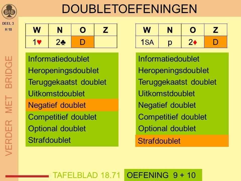 DEEL 3 H 18 TAFELBLAD 18.71 DOUBLETOEFENINGEN OEFENING 9 + 10 Informatiedoublet Heropeningsdoublet Teruggekaatst doublet Uitkomstdoublet Negatief doub