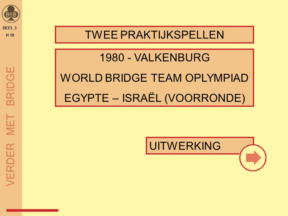 UITWERKING TWEE PRAKTIJKSPELLEN DEEL 3 H 18 1980 - VALKENBURG WORLD BRIDGE TEAM OPLYMPIAD EGYPTE – ISRAËL (VOORRONDE)