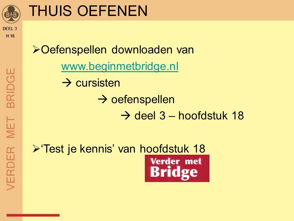 THUIS OEFENEN  Oefenspellen downloaden van www.beginmetbridge.nl  cursisten  oefenspellen  deel 3 – hoofdstuk 18  'Test je kennis' van hoofdstuk 18 DEEL 3 H 18