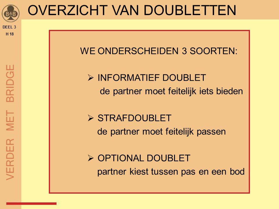WE ONDERSCHEIDEN 3 SOORTEN:  INFORMATIEF DOUBLET de partner moet feitelijk iets bieden  STRAFDOUBLET de partner moet feitelijk passen  OPTIONAL DOUBLET partner kiest tussen pas en een bod DEEL 3 H 18 OVERZICHT VAN DOUBLETTEN