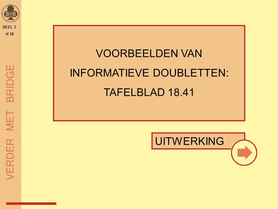 VOORBEELDEN VAN INFORMATIEVE DOUBLETTEN: TAFELBLAD 18.41 DEEL 3 H 18 UITWERKING