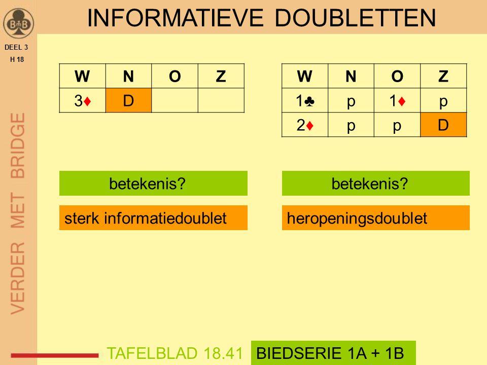 WNOZ 3♦3♦D DEEL 3 H 18 TAFELBLAD 18.71OEFENING 1 + 2 DOUBLETOEFENINGEN Informatiedoublet Heropeningsdoublet Teruggekaatst doublet Uitkomstdoublet Negatief doublet Competitief doublet Optional doublet Strafdoublet Informatiedoublet WNOZ 1 SA D WNOZ 3♦3♦D Informatiedoublet Heropeningsdoublet Teruggekaatst doublet Uitkomstdoublet Negatief doublet Competitief doublet Optional doublet Strafdoublet WNOZ 1 SA D Optional doublet