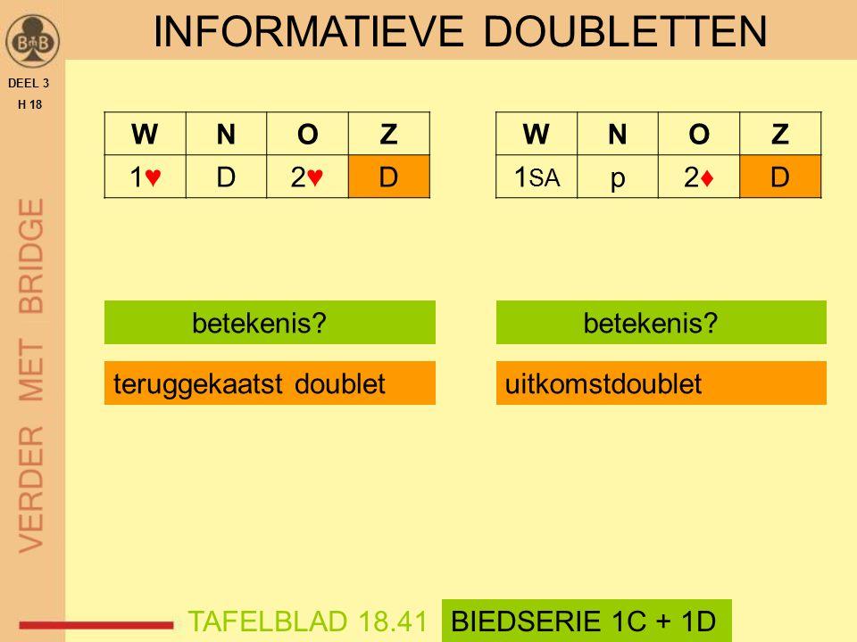 SITUATIES MET OPTIONAL DOUBLETTEN  doublet op een uitneembod 1♠ - (2♦) - 4♠ - (5♦) Ddoublet toont minimum  doublet na partners (straf?)pas 1♠ - (2♦) - pas - (pas) Ddoublet is vrijwel verplicht  doublet op een 1 SA -opening (1 SA ) - Ddoublet toont 1 SA -opening DEEL 3 H 18 SAMENVATTING
