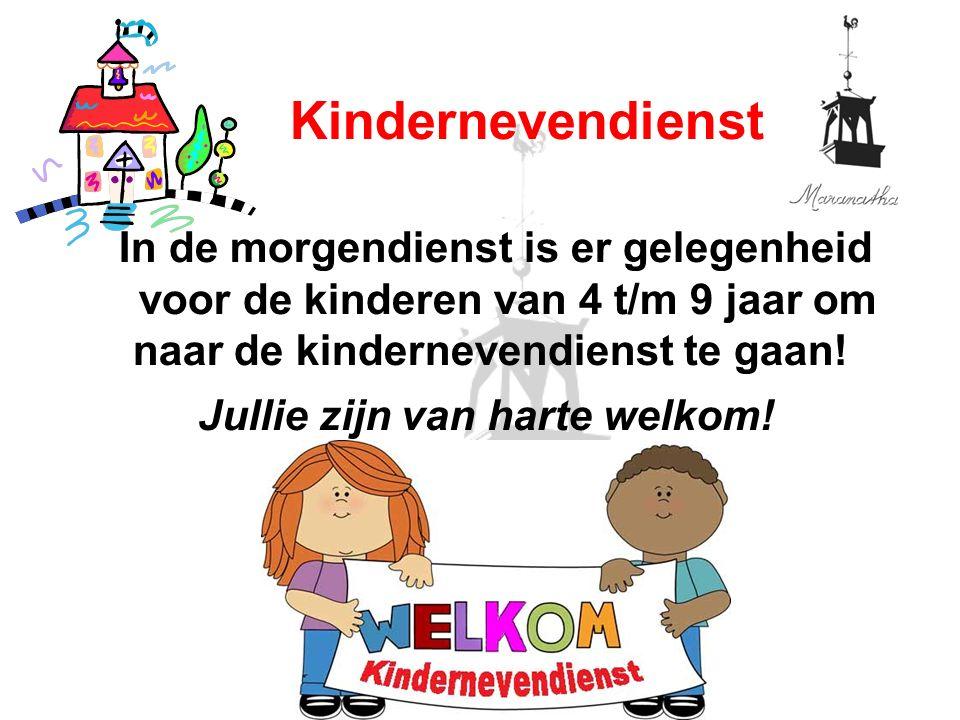 In de morgendienst is er gelegenheid voor de kinderen van 4 t/m 9 jaar om naar de kindernevendienst te gaan! Kindernevendienst Jullie zijn van harte w