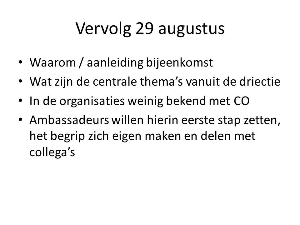 Vervolg 29 augustus Waarom / aanleiding bijeenkomst Wat zijn de centrale thema's vanuit de driectie In de organisaties weinig bekend met CO Ambassadeu