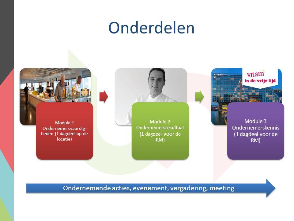 Onderdelen Module 1 Ondernemersvaardig- heden (1 dagdeel op de locatie) Module 2 Ondernemersresultaat (1 dagdeel voor de RM) Module 3 Ondernemerskennis (1 dagdeel voor de RM) Ondernemende acties, evenement, vergadering, meeting