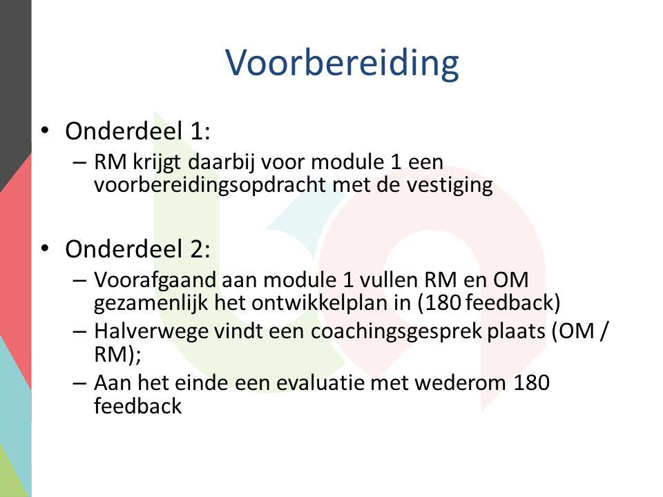 Voorbereiding Onderdeel 1: – RM krijgt daarbij voor module 1 een voorbereidingsopdracht met de vestiging Onderdeel 2: – Voorafgaand aan module 1 vullen RM en OM gezamenlijk het ontwikkelplan in (180 feedback) – Halverwege vindt een coachingsgesprek plaats (OM / RM); – Aan het einde een evaluatie met wederom 180 feedback