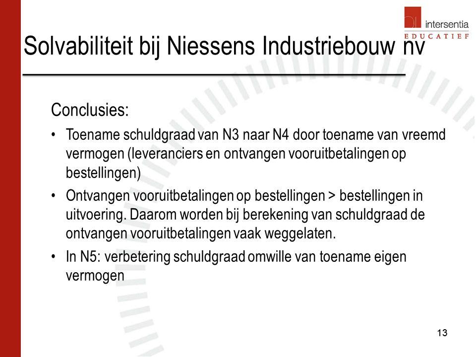 Solvabiliteit bij Niessens Industriebouw nv 13 Conclusies: Toename schuldgraad van N3 naar N4 door toename van vreemd vermogen (leveranciers en ontvangen vooruitbetalingen op bestellingen) Ontvangen vooruitbetalingen op bestellingen > bestellingen in uitvoering.