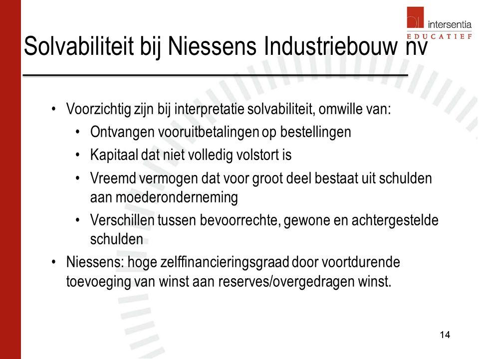 Solvabiliteit bij Niessens Industriebouw nv 14 Voorzichtig zijn bij interpretatie solvabiliteit, omwille van: Ontvangen vooruitbetalingen op bestellin