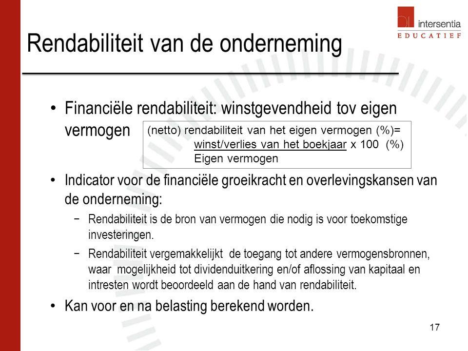Rendabiliteit van de onderneming 17 Financiële rendabiliteit: winstgevendheid tov eigen vermogen Indicator voor de financiële groeikracht en overlevingskansen van de onderneming: −Rendabiliteit is de bron van vermogen die nodig is voor toekomstige investeringen.