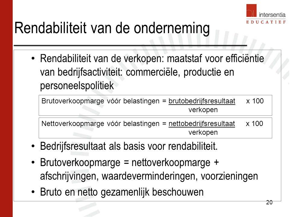 Rendabiliteit van de onderneming 20 Rendabiliteit van de verkopen: maatstaf voor efficiëntie van bedrijfsactiviteit: commerciële, productie en persone