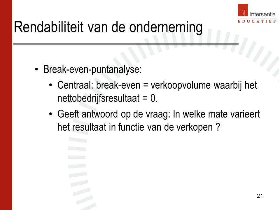 Rendabiliteit van de onderneming 21 Break-even-puntanalyse: Centraal: break-even = verkoopvolume waarbij het nettobedrijfsresultaat = 0. Geeft antwoor