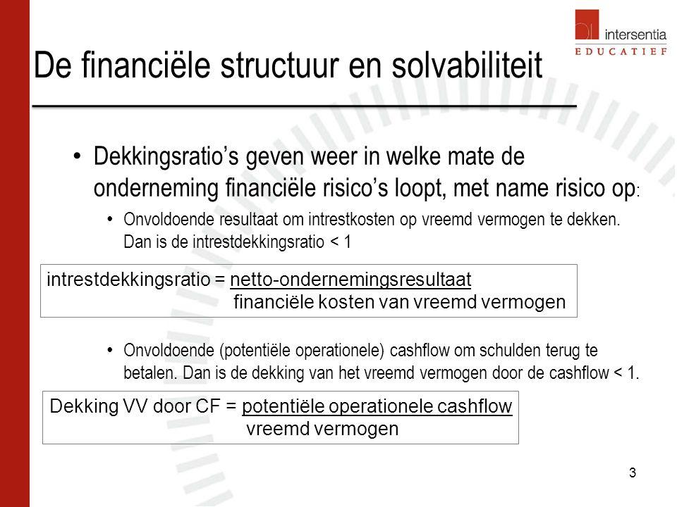 Solvabiliteit bij Niessens Industriebouw nv 14 Voorzichtig zijn bij interpretatie solvabiliteit, omwille van: Ontvangen vooruitbetalingen op bestellingen Kapitaal dat niet volledig volstort is Vreemd vermogen dat voor groot deel bestaat uit schulden aan moederonderneming Verschillen tussen bevoorrechte, gewone en achtergestelde schulden Niessens: hoge zelffinancieringsgraad door voortdurende toevoeging van winst aan reserves/overgedragen winst.