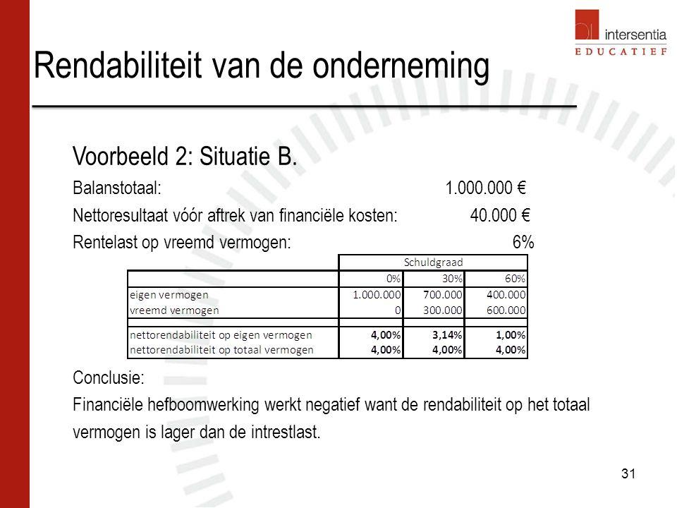 Rendabiliteit van de onderneming 31 Voorbeeld 2: Situatie B. Balanstotaal:1.000.000 € Nettoresultaat vóór aftrek van financiële kosten: 40.000 € Rente