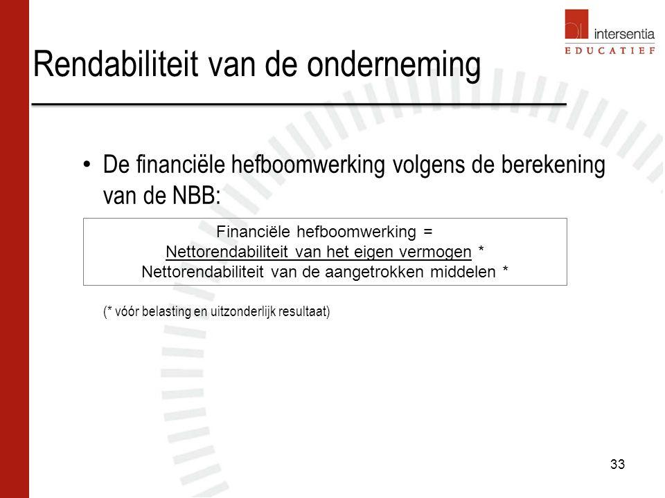 Rendabiliteit van de onderneming 33 De financiële hefboomwerking volgens de berekening van de NBB: (* vóór belasting en uitzonderlijk resultaat) Finan