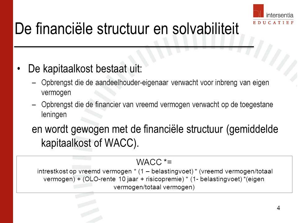 De financiële structuur en solvabiliteit De kapitaalkost bestaat uit: –Opbrengst die de aandeelhouder-eigenaar verwacht voor inbreng van eigen vermogen –Opbrengst die de financier van vreemd vermogen verwacht op de toegestane leningen en wordt gewogen met de financiële structuur (gemiddelde kapitaalkost of WACC).