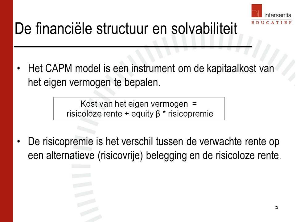 De financiële structuur en solvabiliteit Equity β geeft het risico van financiering met eigen vermogen weer en wordt bepaald door: –Rendement van het aandeel op de financiële markt.