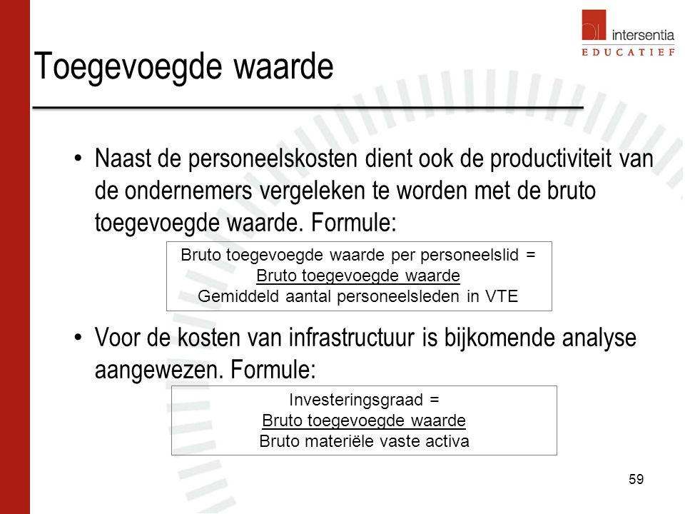 Naast de personeelskosten dient ook de productiviteit van de ondernemers vergeleken te worden met de bruto toegevoegde waarde. Formule: Voor de kosten