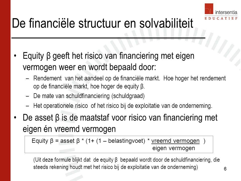 De financiële structuur en solvabiliteit Equity β geeft het risico van financiering met eigen vermogen weer en wordt bepaald door: –Rendement van het