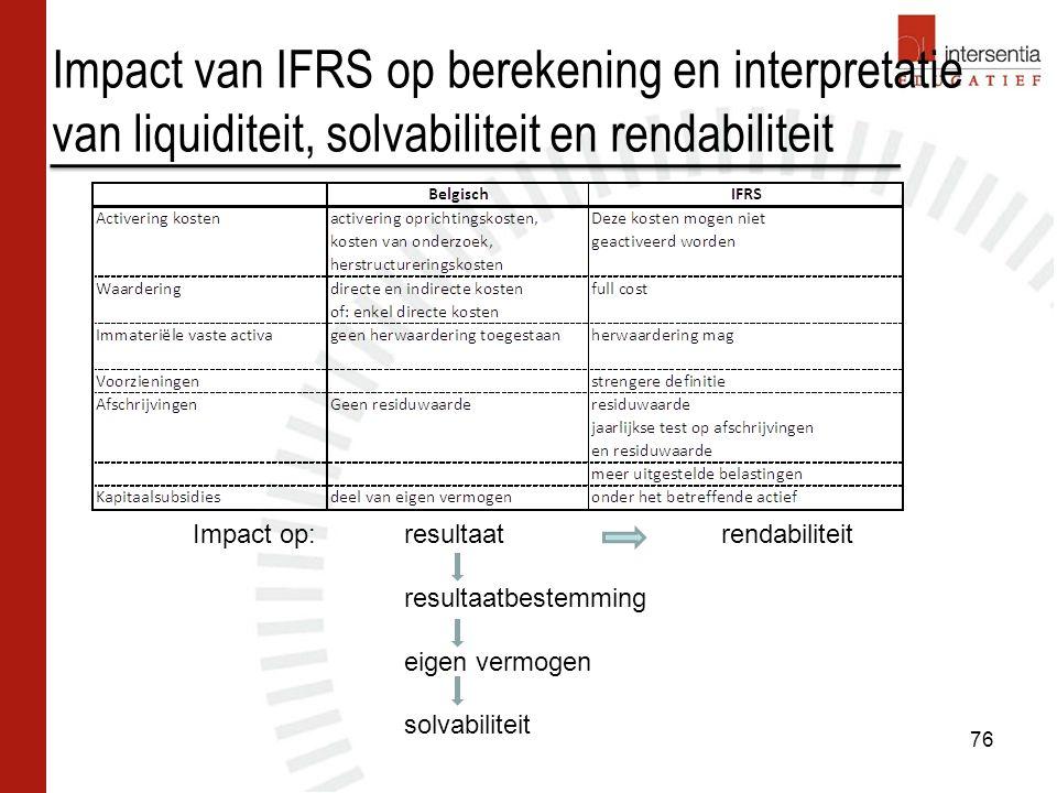 Impact van IFRS op berekening en interpretatie van liquiditeit, solvabiliteit en rendabiliteit 76 Impact op: resultaatrendabiliteit resultaatbestemming eigen vermogen solvabiliteit