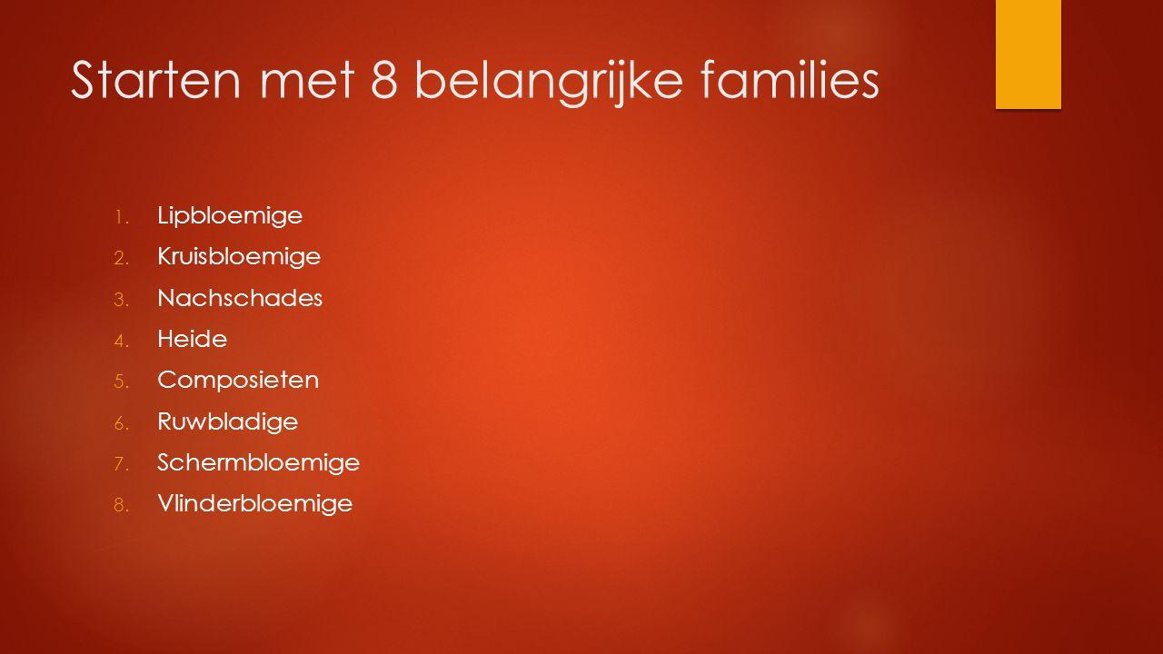 Starten met 8 belangrijke families 1. Lipbloemige 2. Kruisbloemige 3. Nachschades 4. Heide 5. Composieten 6. Ruwbladige 7. Schermbloemige 8. Vlinderbl