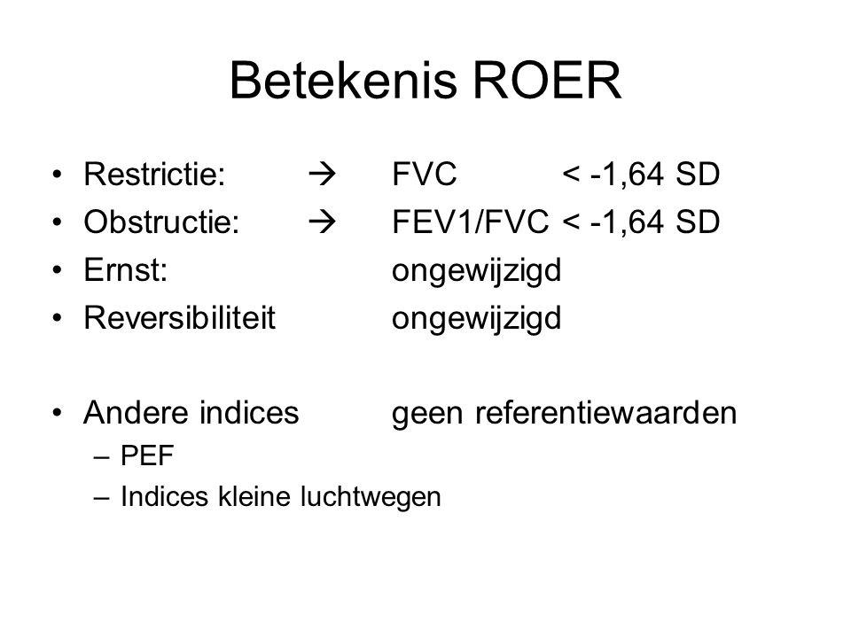 Betekenis ROER Restrictie:  FVC < -1,64 SD Obstructie:  FEV1/FVC< -1,64 SD Ernst: ongewijzigd Reversibiliteit ongewijzigd Andere indicesgeen referentiewaarden –PEF –Indices kleine luchtwegen