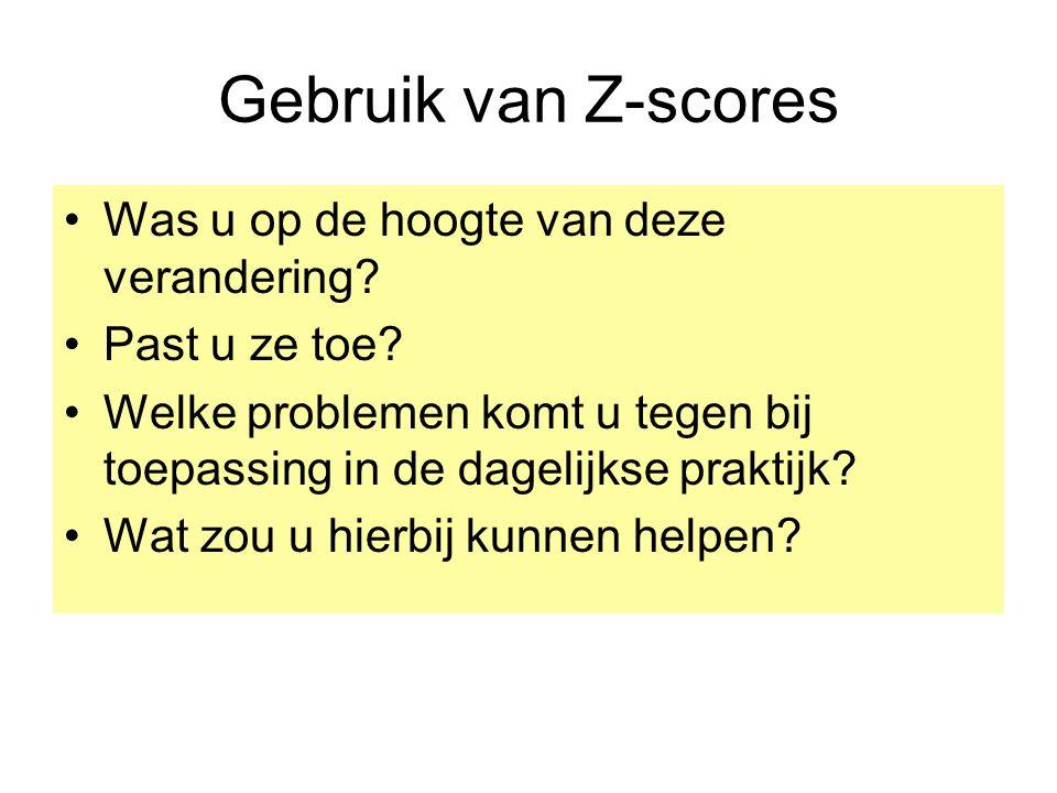 Gebruik van Z-scores Was u op de hoogte van deze verandering.