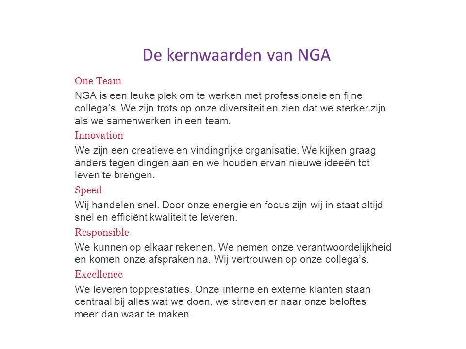 De kernwaarden van NGA One Team NGA is een leuke plek om te werken met professionele en fijne collega's.