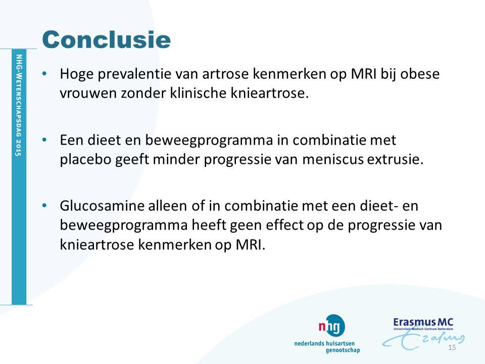 Conclusie Hoge prevalentie van artrose kenmerken op MRI bij obese vrouwen zonder klinische knieartrose. Een dieet en beweegprogramma in combinatie met
