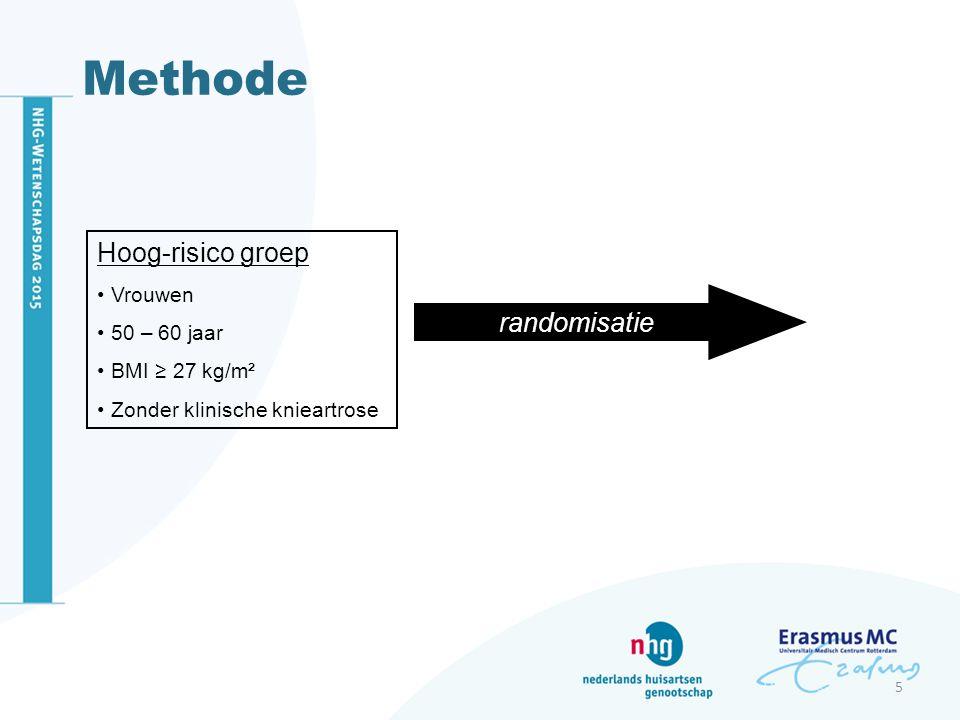Methode Hoog-risico groep Vrouwen 50 – 60 jaar BMI ≥ 27 kg/m² Zonder klinische knieartrose randomisatie 5