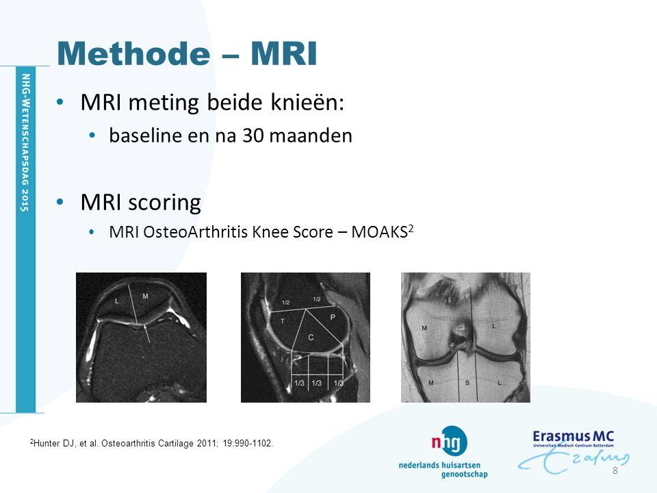 Methode – MRI MRI meting beide knieën: baseline en na 30 maanden MRI scoring MRI OsteoArthritis Knee Score – MOAKS 2 8 2 Hunter DJ, et al. Osteoarthri