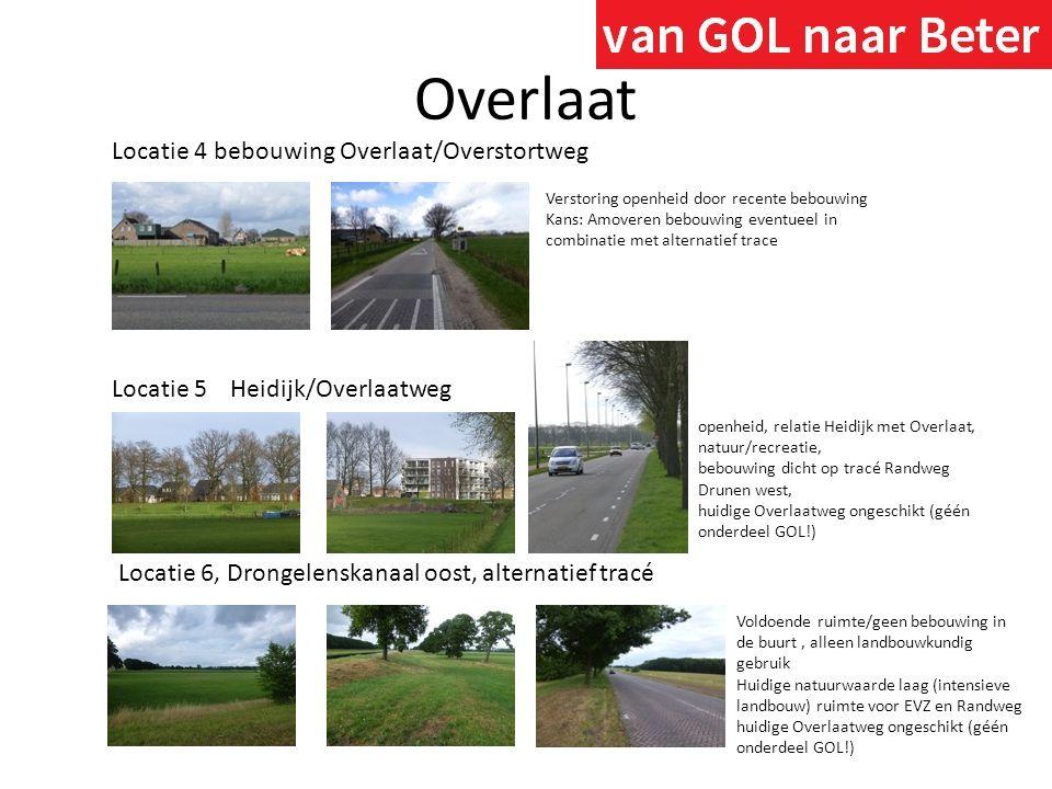Overlaat Locatie 5Heidijk/Overlaatweg openheid, relatie Heidijk met Overlaat, natuur/recreatie, bebouwing dicht op tracé Randweg Drunen west, huidige