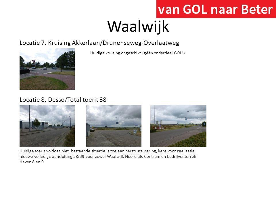 Waalwijk Locatie 7, Kruising Akkerlaan/Drunenseweg-Overlaatweg Huidige kruising ongeschikt (géén onderdeel GOL!) Locatie 8, Desso/Total toerit 38 Huid
