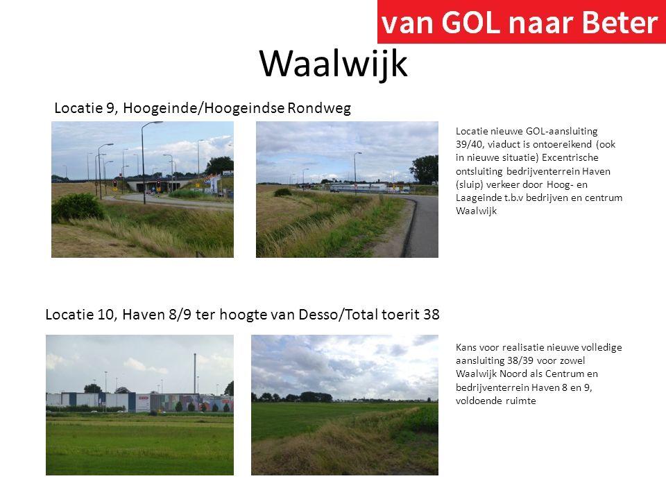 Waalwijk Locatie 9, Hoogeinde/Hoogeindse Rondweg Locatie 10, Haven 8/9 ter hoogte van Desso/Total toerit 38 Kans voor realisatie nieuwe volledige aans