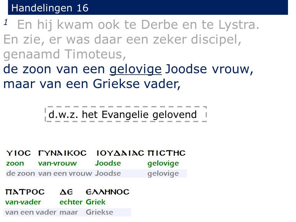 Handelingen 16 1 En hij kwam ook te Derbe en te Lystra. En zie, er was daar een zeker discipel, genaamd Timoteus, de zoon van een gelovige Joodse vrou