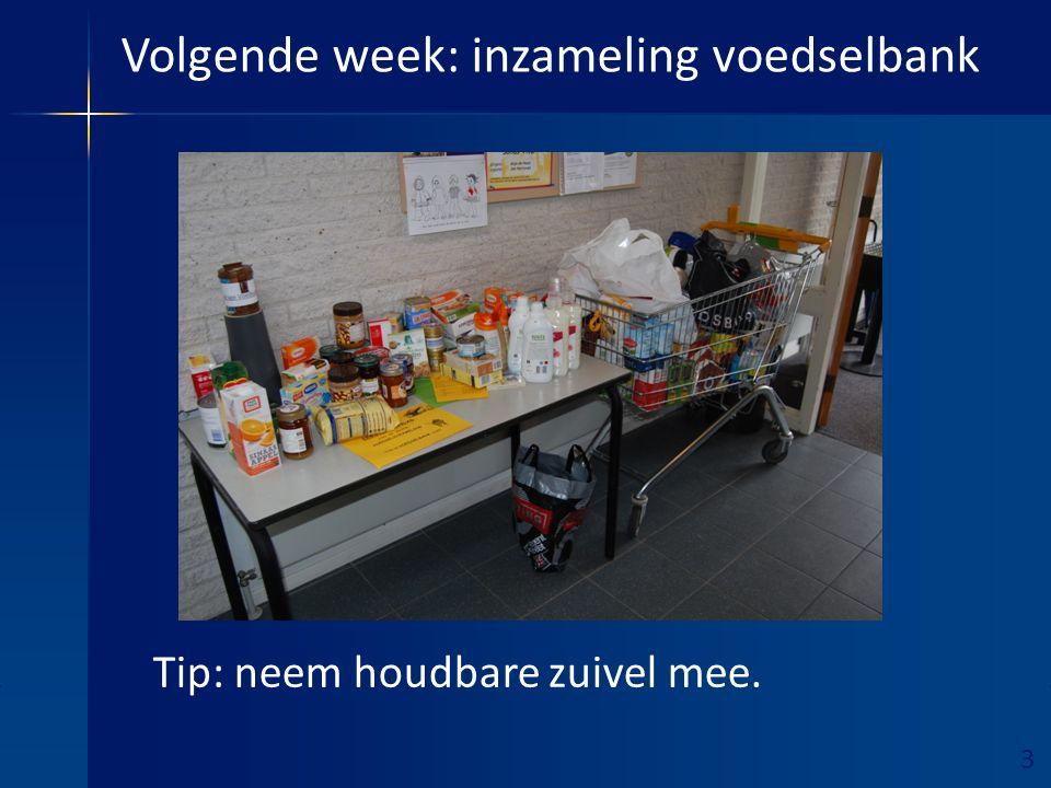 3 Ruimte hieronder vrijhouden! Volgende week: inzameling voedselbank Tip: neem houdbare zuivel mee.