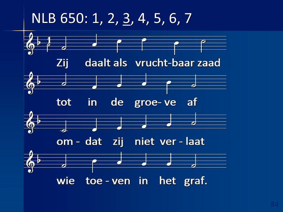 84 Ruimte hieronder vrijhouden! NLB 650: 1, 2, 3, 4, 5, 6, 7