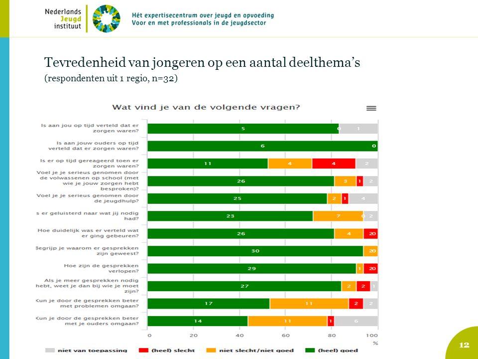 12 Tevredenheid van jongeren op een aantal deelthema's (respondenten uit 1 regio, n=32)