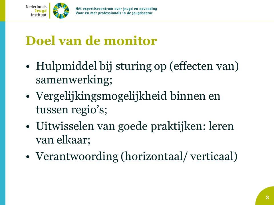 Doel van de monitor Hulpmiddel bij sturing op (effecten van) samenwerking; Vergelijkingsmogelijkheid binnen en tussen regio's; Uitwisselen van goede praktijken: leren van elkaar; Verantwoording (horizontaal/ verticaal) 3