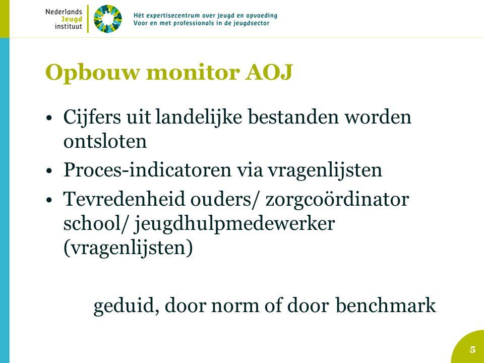 Opbouw monitor AOJ Cijfers uit landelijke bestanden worden ontsloten Proces-indicatoren via vragenlijsten Tevredenheid ouders/ zorgcoördinator school/ jeugdhulpmedewerker (vragenlijsten) geduid, door norm of door benchmark 5