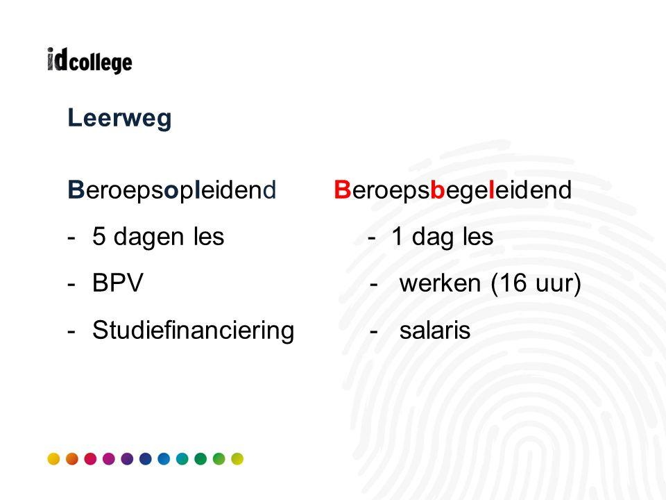 Leerweg BeroepsopleidendBeroepsbegeleidend -5 dagen les - 1 dag les -BPV - werken (16 uur) -Studiefinanciering - salaris
