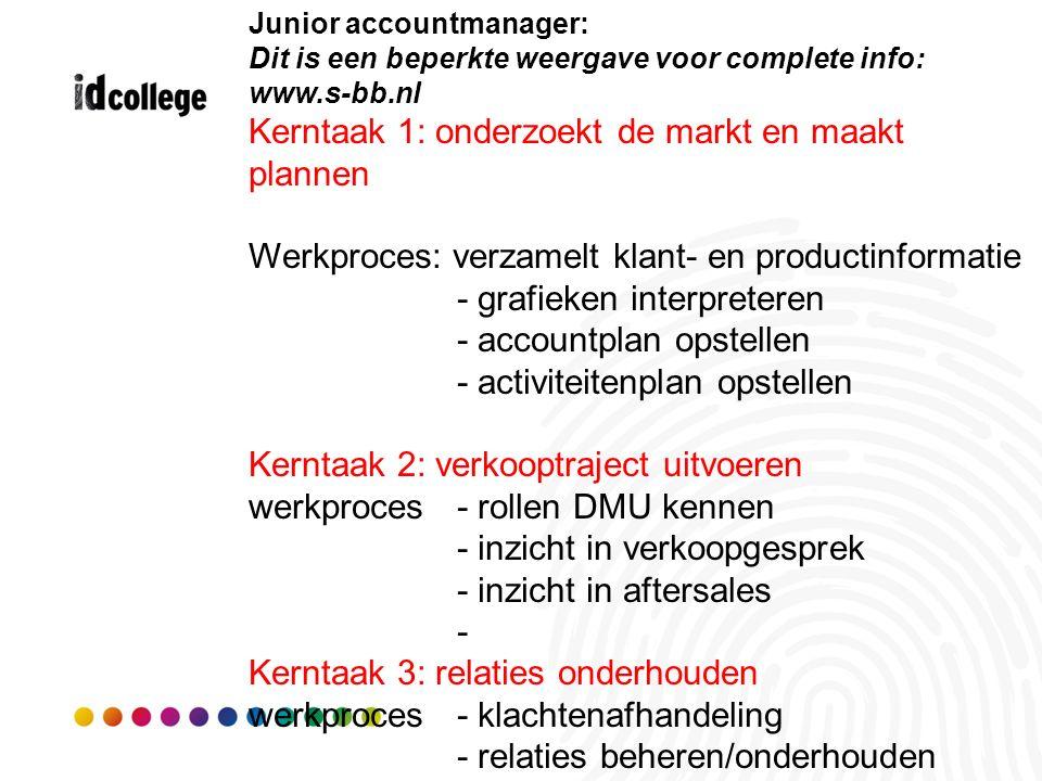 Junior accountmanager: Dit is een beperkte weergave voor complete info: www.s-bb.nl Kerntaak 1: onderzoekt de markt en maakt plannen Werkproces: verza
