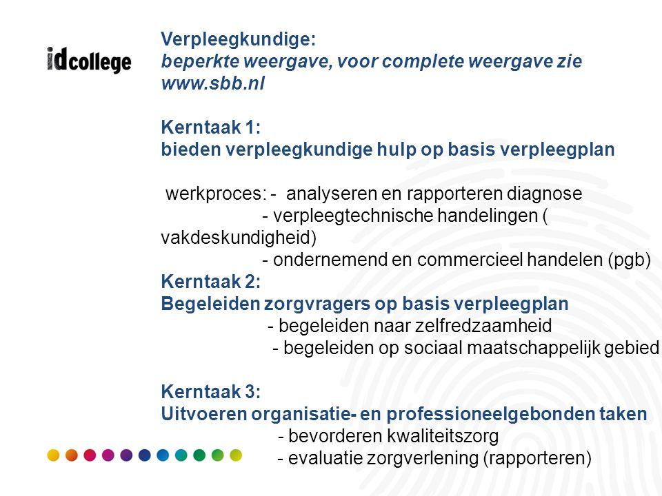 Verpleegkundige: beperkte weergave, voor complete weergave zie www.sbb.nl Kerntaak 1: bieden verpleegkundige hulp op basis verpleegplan werkproces: -